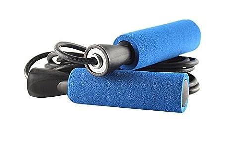 TININNA Corde à Sauter Câble Vitesse Pour Entraînement à l'endurance Crossfit Fitness Avec Soft Mousse Poignée Noir+Bleu