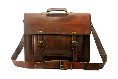 HLC Echtes Leder Messenger Cum Laptop-Kreuz-Körper Satchel Brown Aktentasche - Eco-leder-satchel-tasche