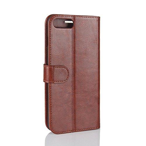 Easbuy Pu Leder Kunstleder Flip Cover Tasche Handyhülle Case Mit Karte Slot Design Hülle Etui für iphone 8 Plus / 7 Plus Smartphone Handytasche Braun