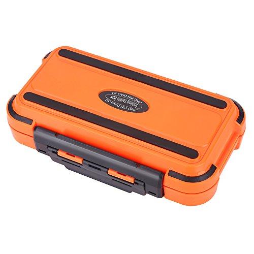 Dilwe 24 Slot Kunstköderbox, Wasserdicht Fischköder Aufbewahrungskoffer Angelausrüstung Box Köderbox Angelkasten Tacklebox für Kunstköder (Orange)