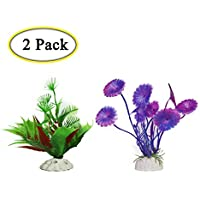 Boocy - 2 plantas de plástico para acuario, acuario, acuario, pecera, acuario, imitación de peces, orquídea, agua, hierba artificial, decoración para acuario