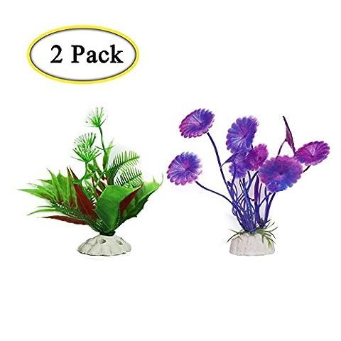 Boocy 2pièces plantes en plastique pour aquarium Fish Tank Oursin simili Eau Herbe aquatique plantes artificielles pour aquarium