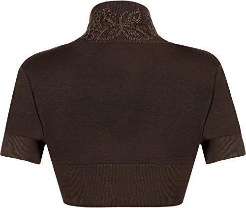 The Celebrity Fashion Boléro à manches courtes 100% coton avec sequins Taille 36-54 - BROWN - Summer Beach Sunny Bolero