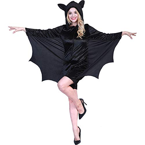 Ym Femmes Vampire Batgirl Bat Costume Siamois Zipper Manches Longues Adult Cosplay Halloween Déguisements
