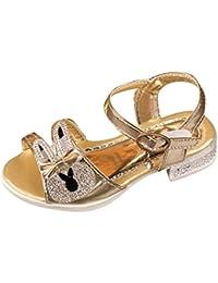 Zapatos Niña,Sandalias de bebé Bowknot de cristal para niños con forma de conejo Niños