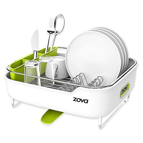 Zova - Escurreplatos de acero inoxidable con boquilla giratoria, organizador de utensilios...