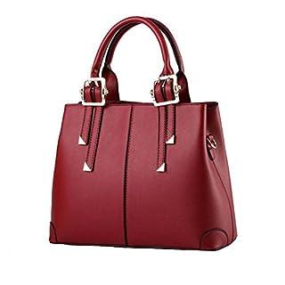 ANDAY Women Ladies Elegante Faux Leather Tote Handbag Shoulder Bag Wine Red