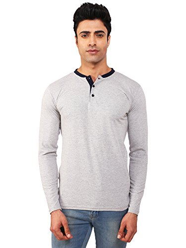 Bks Collection full sleeves Grey t shirts for men henley tees tshirt_M
