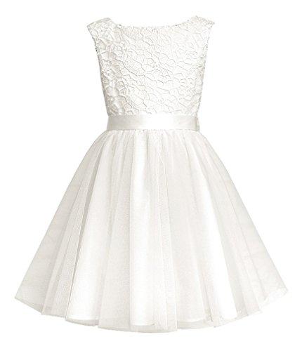 Sly Mädchen Kleid Festlich Hochzeit Kommunion Einschulung Spitze Tüll Vanille Creme Größe 122 (Kommunion Shop Kleid)