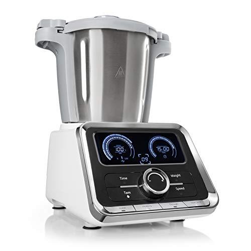 Klarstein GrandPrix - Robot de cocina , Batidora , Maquina de amasar , 500-1000W , Recipiente de acero inoxidable , 2,5L , Temperatura ajustable entre 30 y 120ºC , 12 velocidades , Acero/Blanco
