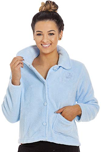 Camille Damen-Luxus-Button-Up-Fleece-Bettjacke 50/52 Blue -