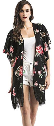 Kurzarm Kimono Hülse Fransensaum Fransen Geblümt Longline Strandkleid Vertuschen Chiffon Blouse Bluse Shirt Hemd Oberteil Top Schwarz XL (Sleeve Boho Dolman Top)