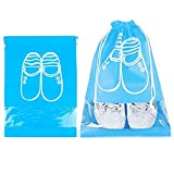 Sominue 10er Pack Schuhbeutel in 2 Größe, Wasserabweisend Schuhsack mit Zugband, Transparent Schuhtasche für Reise Hause Frauen Männer, Blau