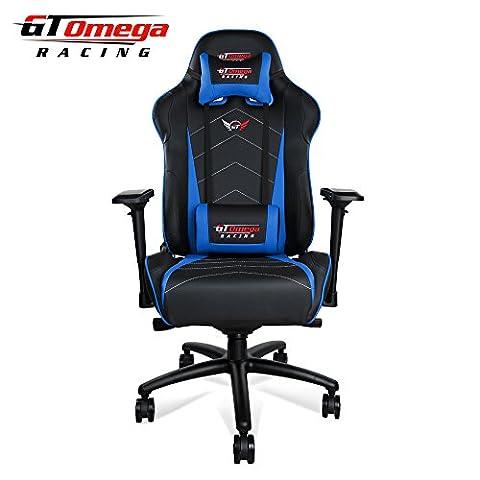 GT Omega Pro XL Racing Chaise de bureau en cuir Noir et Bleu pour gamer