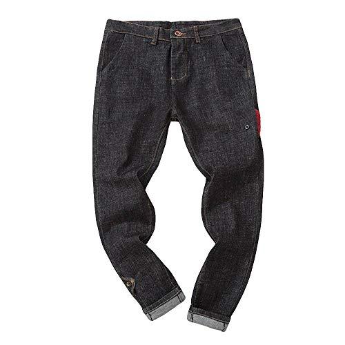 Xmiral Jeans Relaxed Fit Pantaloni Larghi e Larghi Jean Loose Relaxed Gambe Casual Lavaggio Vintage Hip Hop Pantaloni da Uomo (40,1- Nero)