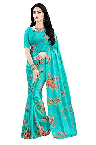 Applecreation Women's Satin Saree (Sky Blue_Pok20107_Free Size)