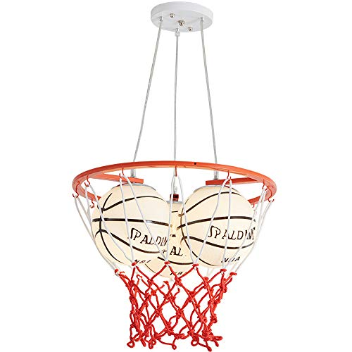 Kinderzimmer Basketball-Anhänger Pendelleuchte Persönlichkeit Sport Themen- und Hoop Hängedeckenleuchte Beleuchtungsglas Shade 3 Leuchten E27 Birnen-Halter