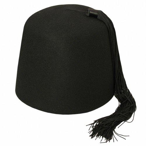 Village Hats Chapeau Fez Noir avec Houppe Noire Large