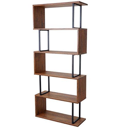 Mendler Bücherregal HWC-A27, Standregal Wohnregal, 183x80cm 3D-Struktur 5 Ebenen ~ Wildeiche - Holz-5-regal Bücherregal