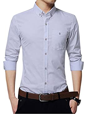 Uomo Camicia Slim Fit Con Maniche Lunghe Tinta Unita Affari Risvolto Camicia Bianco L