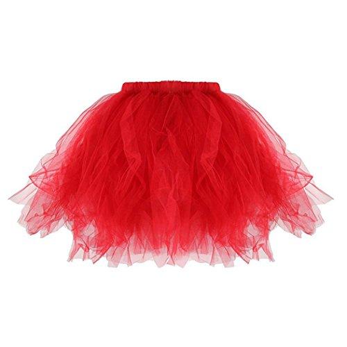 MIOIM Tutu Tütü Tanzrock Ballettrock Layered Ballettröckchen Minirock Mädchen und Mutter Petticoat Rot (Kostüme Tanz Für Tippen Mädchen)