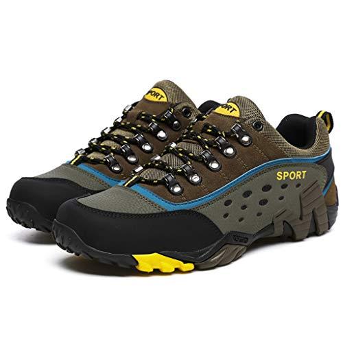 ZPWY Herren Wandern Trekking Schuhe Leder Outdoor Walking Leichte Low Trail Leichtathletik Camping Bergsteigen Training Sport Turnschuhe, Khaki-36 -