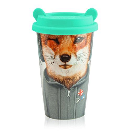 MUSTARD - Coffee Fox Cup I Kaffee-to-Go Becher mit Silikon-Deckel I Keramik I isolierter...