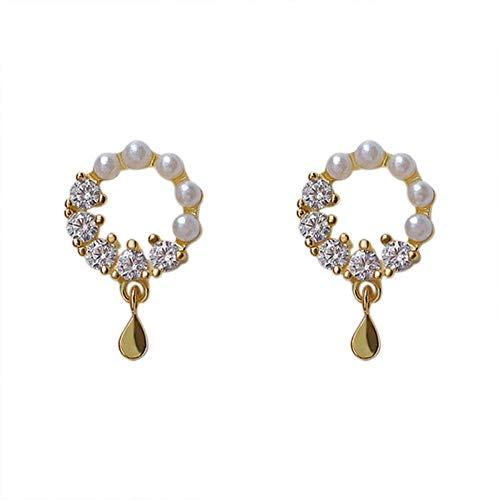 Orecchini s925 orecchini in argento sterling femminile temperamento selvaggio bag oro perline di diamanti tallone zircone corona orecchini gioielli femminili 0.9 * 1.4 cm