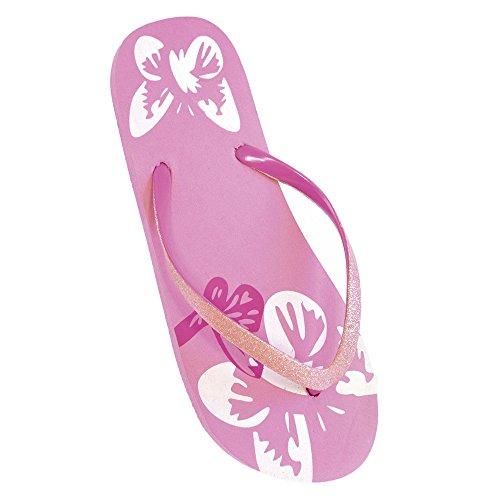 FLOSO - Tongs à paillettes et motif fleurs - Femme Rose