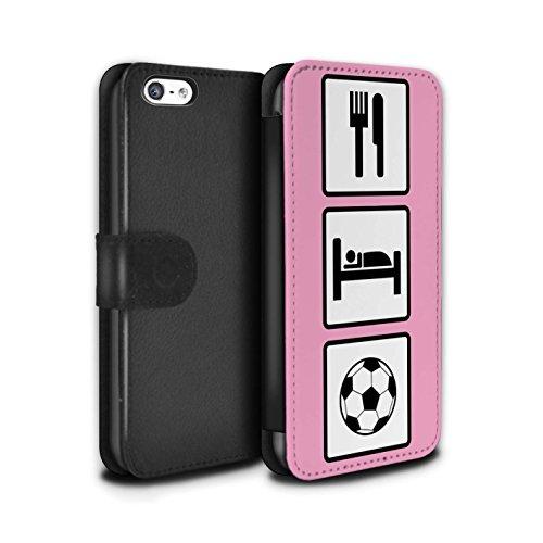 Stuff4 Coque/Etui/Housse Cuir PU Case/Cover pour Apple iPhone 5C / Jeu/Jeux/Rose Design / Manger/Sommeil Collection Football/Rose