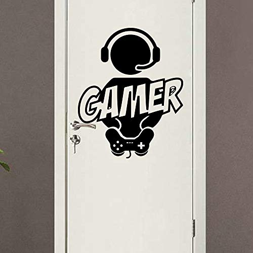 WWYJN Carved Gamer Wall Sticker Vinyl Mural Wallpaper for Kids Room Decoration Decals Boys Ps4 Gaming Poster Decor Door Sticker v M 30cm X 37cm