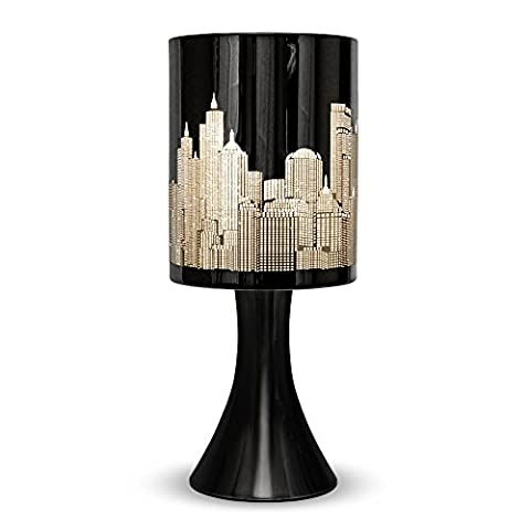 MiniSun 'Horizon - NEW YORK'. Lampe de Table, Chevet Touch Moderne. Variateur Touch intégré. Pied Contemporain en Noir Brillant avec Abat-Jour 'Gratte Ciel' Noir