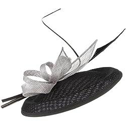 EOZY Mujer Tocado de Boda Pluma Fiesta Sombrero Vintage Negro Gris