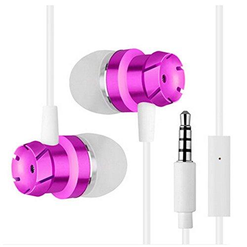HINMAY In-Ear-Kopfhörer, 3,5 mm, Turbo-Metall, Wurm-Gang, Bass-Kopfhörer mit Mikrofon, Drahtgürtel, Computer, Handy-Kopfhörer, Zubehör, Rose -