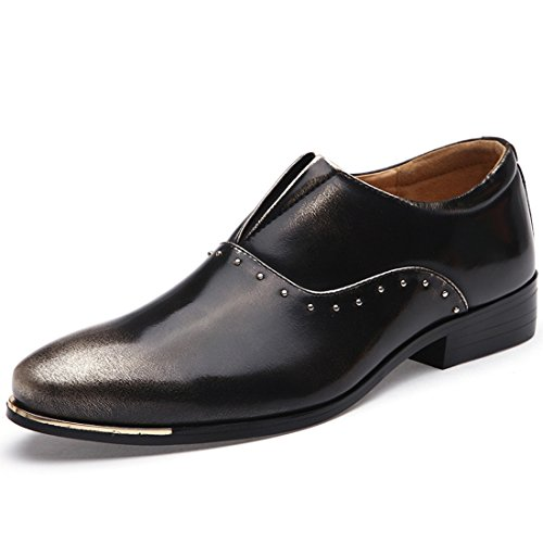 Men's Italian Style Soft Patent Leather Pointed Toe Formal Shoes black gold