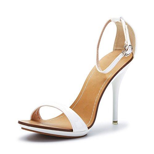 Damen Sandalen Knöchelriemchen Schnalle Stiletto High Heels Absatz-10,5CM Sexy Hochzeit Party Weiß 38 5 Stiletto Heels