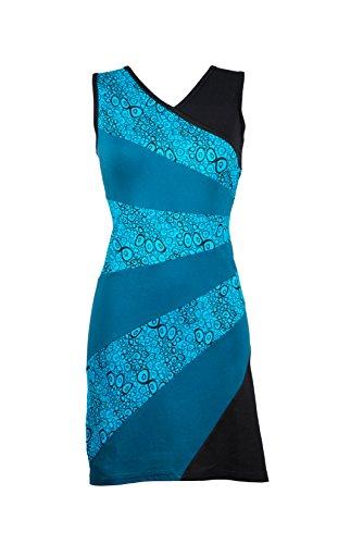 Filosophie Feminines Kleid mit V-Ausschnitt und kräftigen Ethno Muster im asymmetrischen Design - Casual Chic - Mila (XXL)