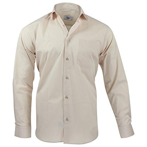 Captain Classic Fit Herren Hemden (in 24 Verschiedenen Farben) Langarm-Hemd 100% Baumwolle Beige