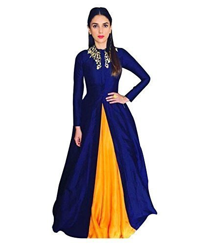 marvadi collection Women's Cotton Silk Semi-Stitched Lehenga Choli (Liril 62_Blue_Free Size)