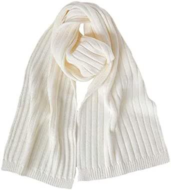 Fantasie Terrene - Firenze. Sciarpa uomo a coste larghe, fatta a maglia con filato Misto Lana di Alta qualità. Made in Italy. Colore Panna