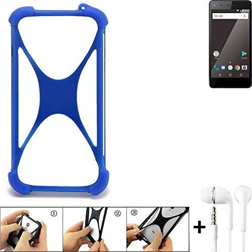 K-S-Trade Bumper für Blaupunkt SL 01 Schutzhülle Handyhülle Silikon Schutz Hülle Cover Case Silikoncase Silikonbumper TPU Softcase Smartphone, Blau (1x), Headphones