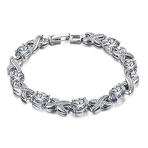 TIZIKJ Bracelet en cuivre en zircon diamant Mosaïque