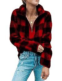 Minetom Mujer Sudaderas Casual Cremallera Felpa Suéter Tops Manga Larga Otoño Invierno Abrigos Outwear Peluche Teddy