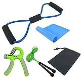 Keptfeet Yoga-Übungs-Eignungs-Ausrüstung Satz von 5 Yoga 8 Form Zugseil-Schlauch-Handkraft-Griff-Handgelenk-Krafttrainings-Übungsgerät-Yoga-Bänder Latex dehnbares Tuch springen Eignungausrüstung