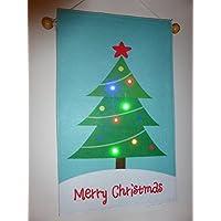 Merry Christmas Decorazione Bandiera con luce a LED lampeggiante luci
