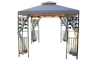 Blattdesign 3M quadratischer Garten-Pavillon - Beige Deckenbespannung & 4 Seitennetze mit starkem Stahlrahmen.