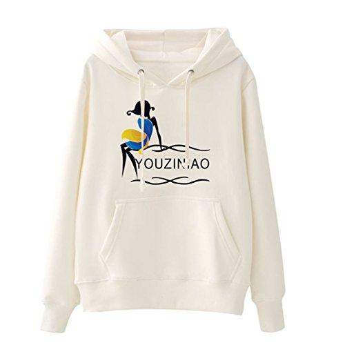 WanYang Pulls Molletonnés Occasionnels de Pull Hoodie de Femmes Pulls Molletonnés à Capuchon de Sweatshirt avec de Grandes Poches Fille blanche