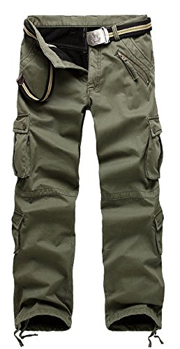 AYG Warm Velour Hose Herren Cargo Hose(army green,36) (Shorts Military Woodland Camo)