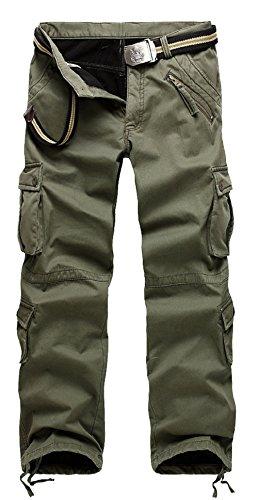 AYG Warm Velour Hose Herren Cargo Hose(army green,36) (Shorts Military Camo Woodland)