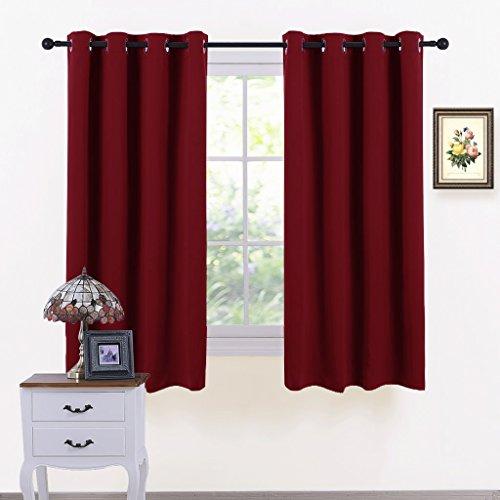 Pony dance tende oscuranti decorazione finestre (l 116 x a 137 cm, rosso) tende drappeggi termiche spessi a occhielli/tessuti oscuranti isolanti freddo per finestre piccole camera da letto